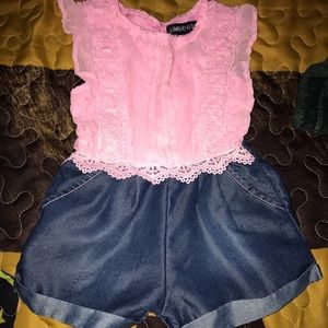 Limited Too Pink and Denim Romper